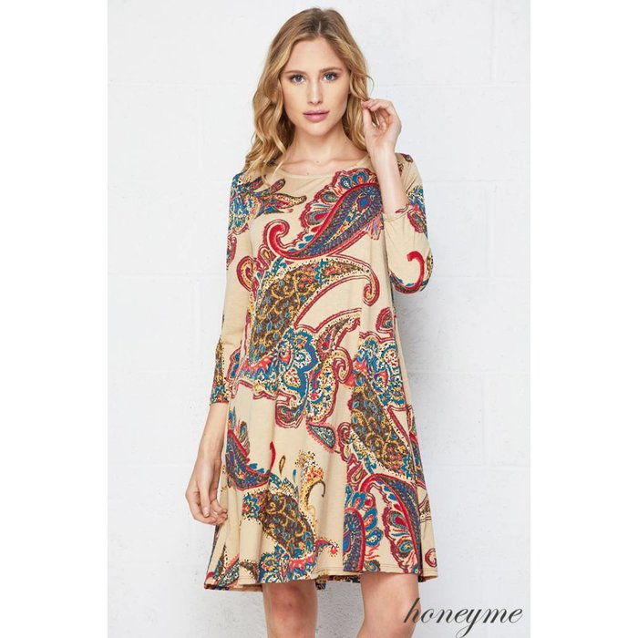 Paisley Taupe Swing Dress with Pockets
