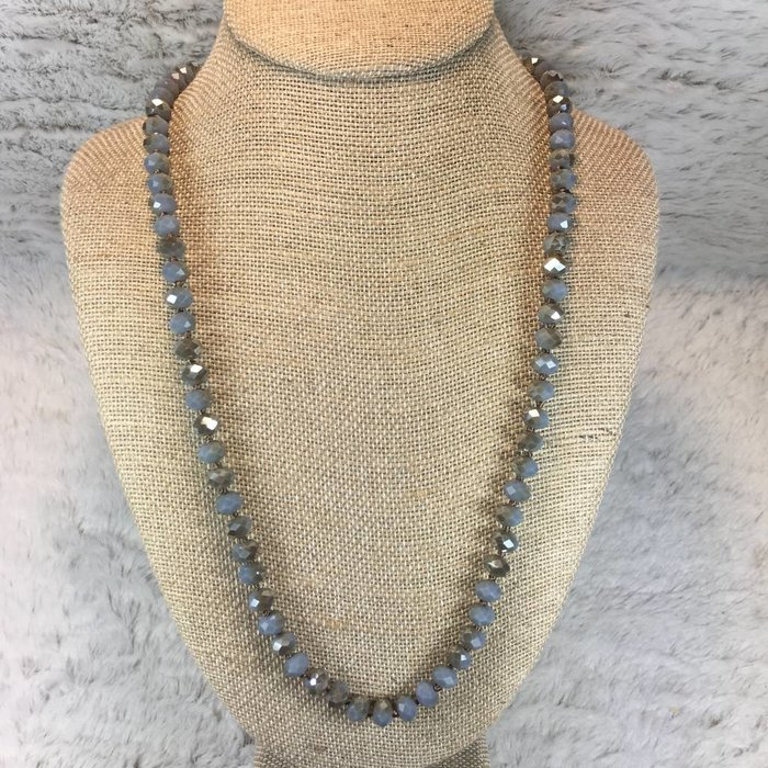 """Crystal Knotted 36"""" Necklace - Grey"""