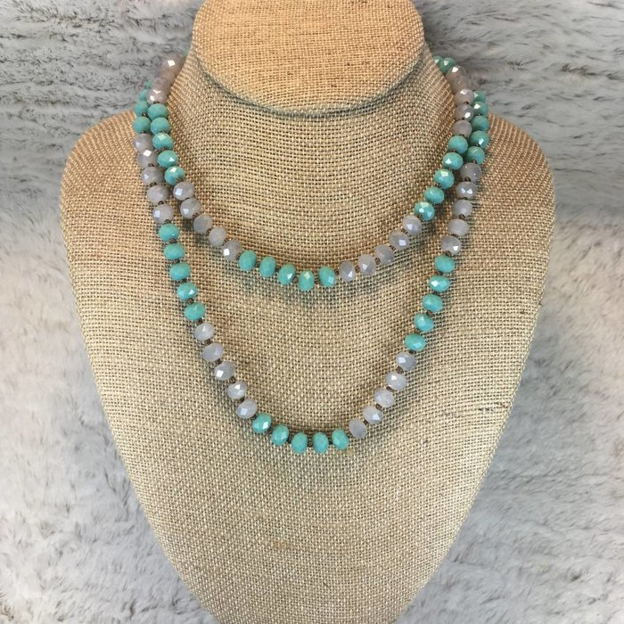 """Crystal Knotted 36"""" Necklace - Turq/Grey"""