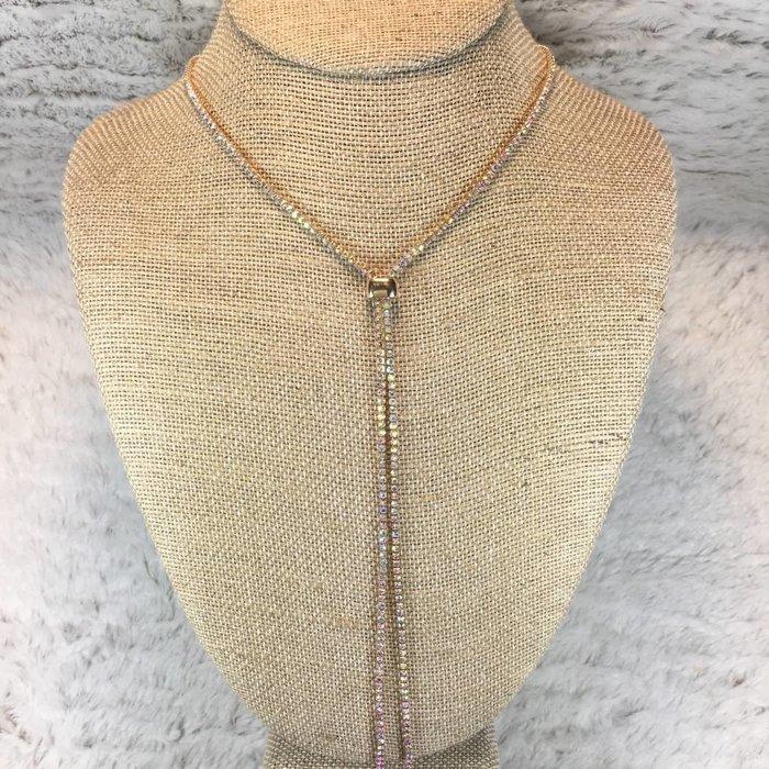 Gold Rhinestone Long Tassel Necklace