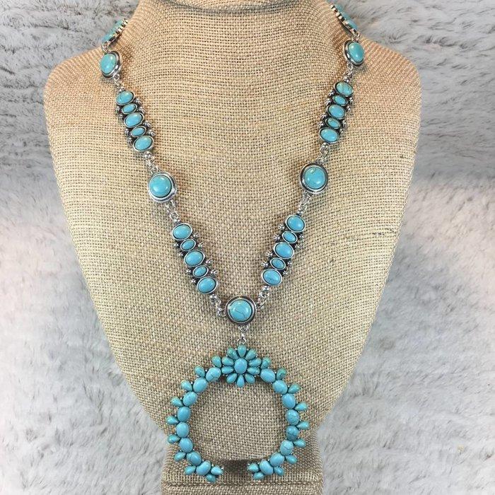 Floral Squash Turquoise & Silver Necklace Set