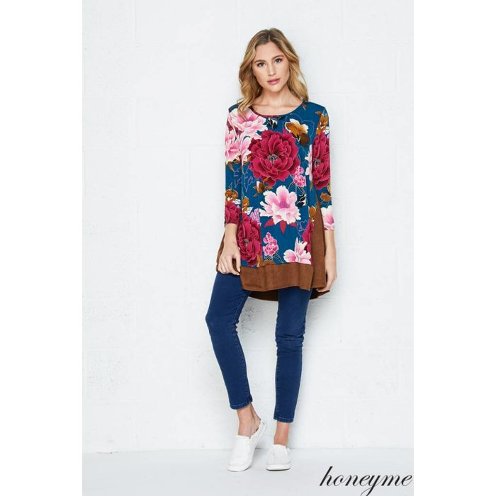 Floral Suede Swing Top
