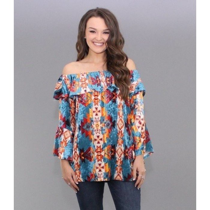 Aztec Sunset Velvet Off Shoulder Top