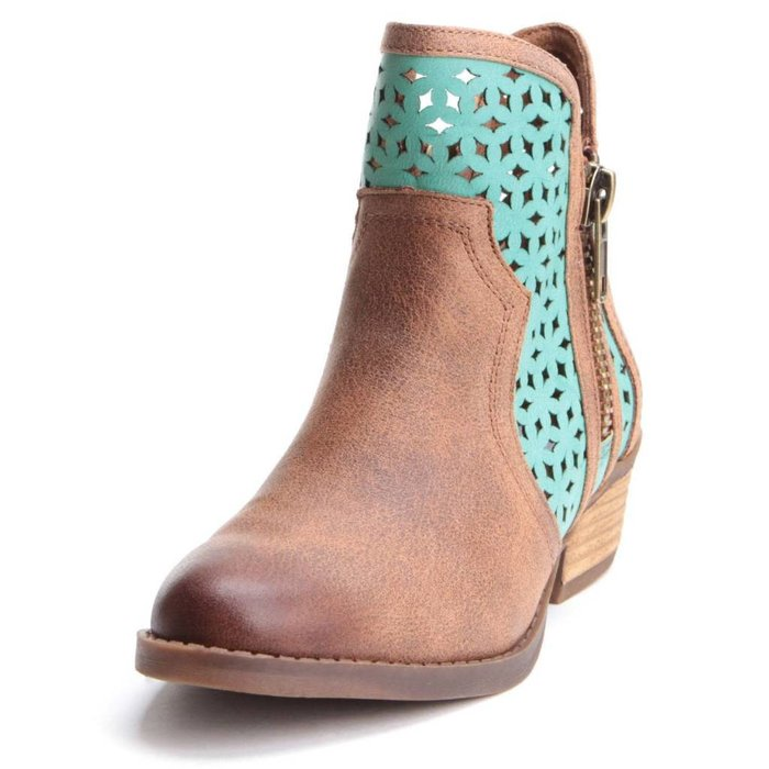 Emily Ankle Boot - Turquoise/Brown