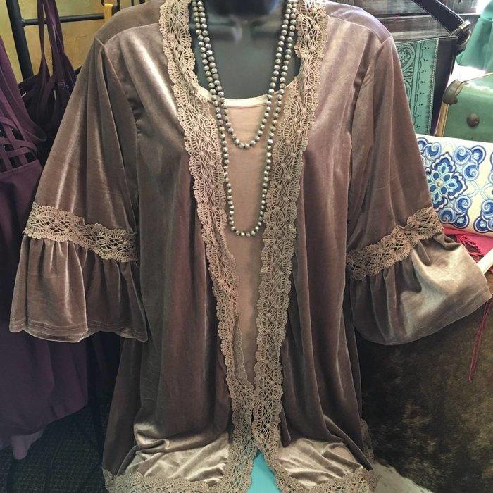 Mocha Velvet Bell Sleeve Lace Trim Cardigan