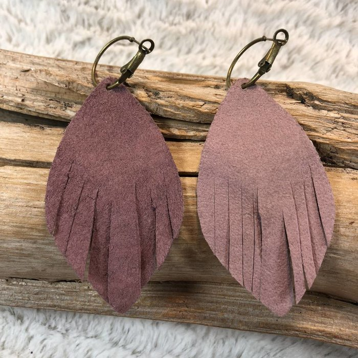 Leather Bronze AB Fringe Earrings - B