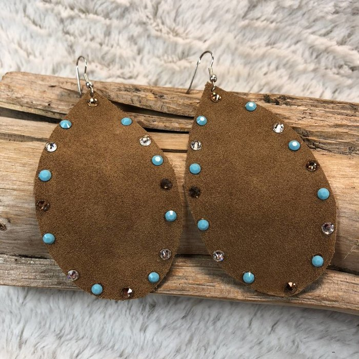 Leather Teardrop Swarovski Crystal Handmade Earrings