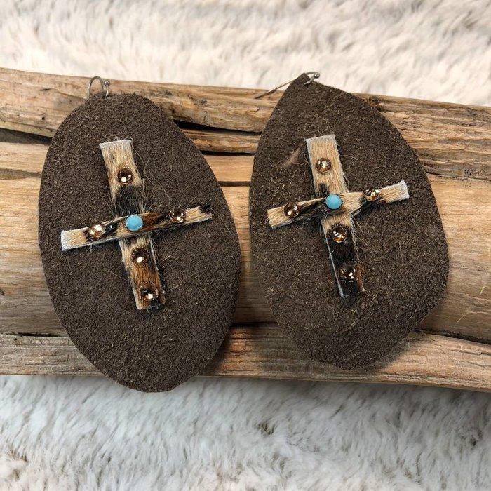 Leather Leopard Cross Cowhide Handmade Earrings - A