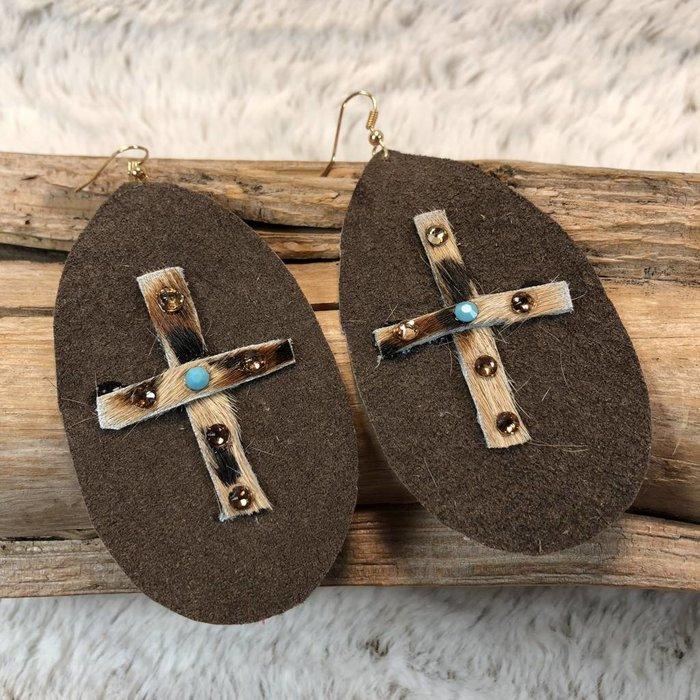 Leather Leopard Cross Cowhide Handmade Earrings - B