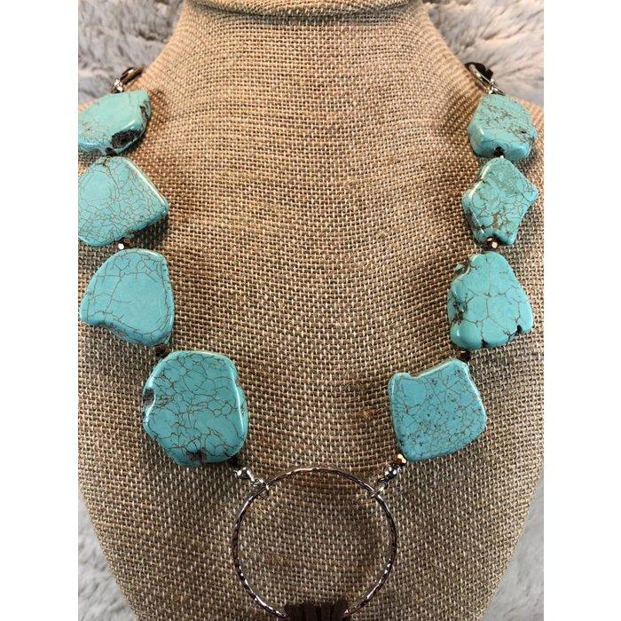 Turquoise Slab Necklace with Fringe