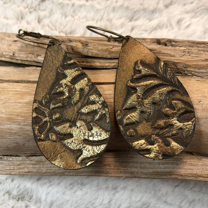 Gold Leather Tooled Earrings