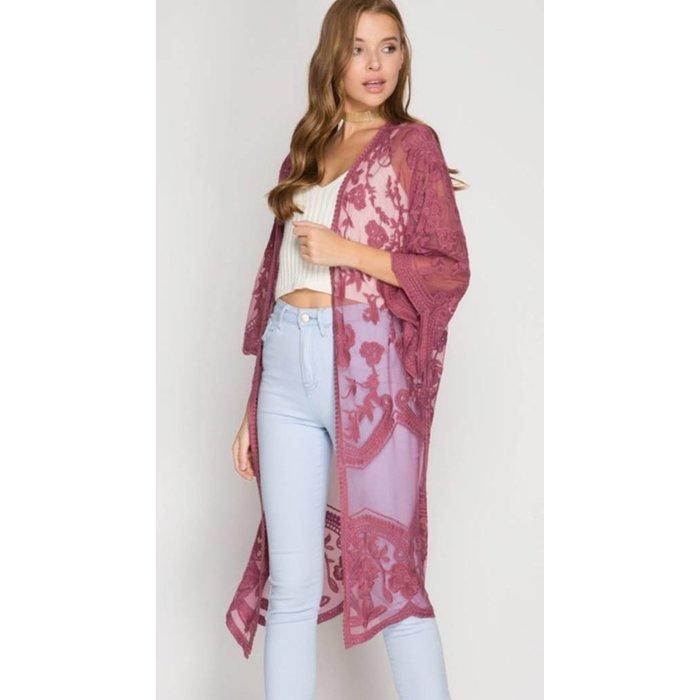 Mauve Lace Long Kimono
