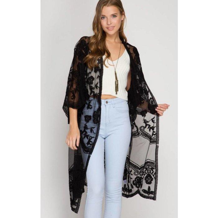 Black Lace Long Kimono