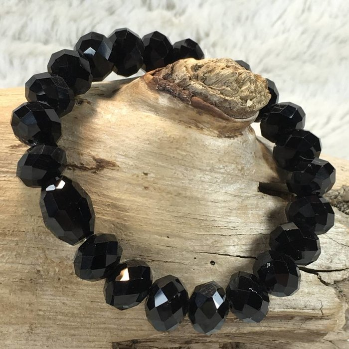 Solid Black Stretch Crystal Bracelet