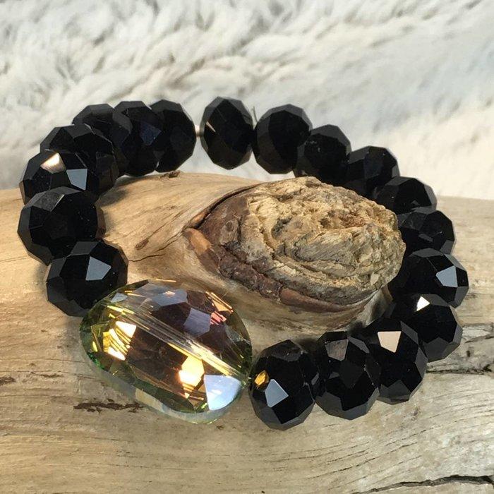 Black Stretch Bracelet with Mystic Stone