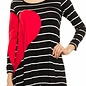 Red Heart Black & White Striped Top