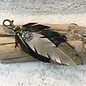 Black & Gold Leather Feather Glitter Keychain