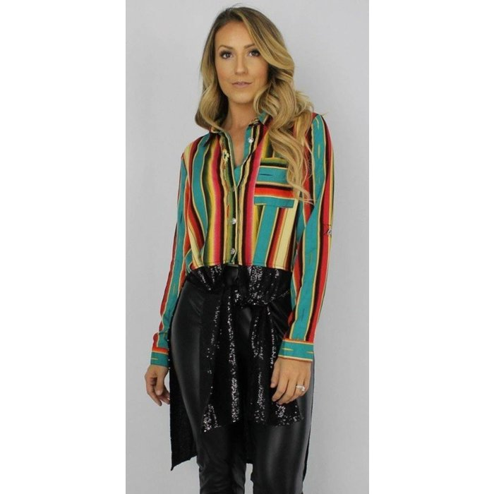 Jade Serape Sequin Duster Tunic