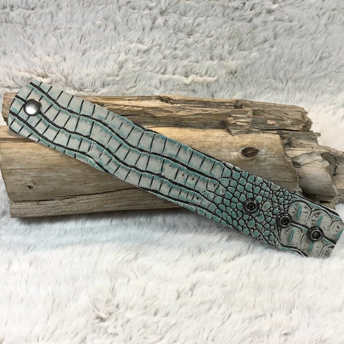 Turquoise Alligator Leather Cuff - #2