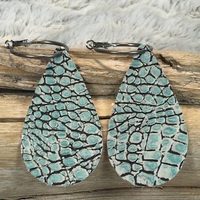 Turquoise Alligator Leather Teardrop Earrings - #2