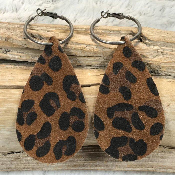 Brown Leopard Leather Teardrop Earrings