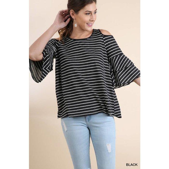 Striped Bell Sleeve Cold Shoulder Top