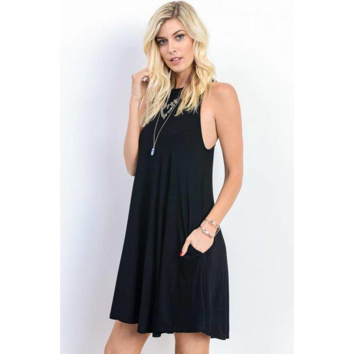 Black Crew Neck Swing Dress with Pockets