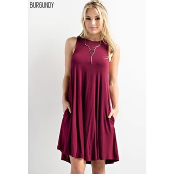 Burgundy Crew Neck Swing Dress with Pockets
