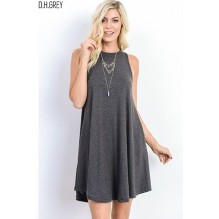 Grey Crew Neck Swing Dress with Pockets