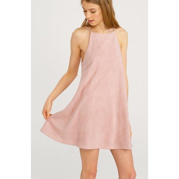 Blush Faux Suede A Line Mini Dress