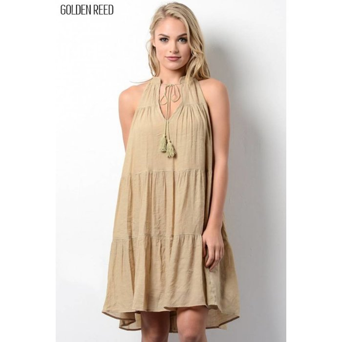 Golden Reed Sleeveless Ruffle Dress