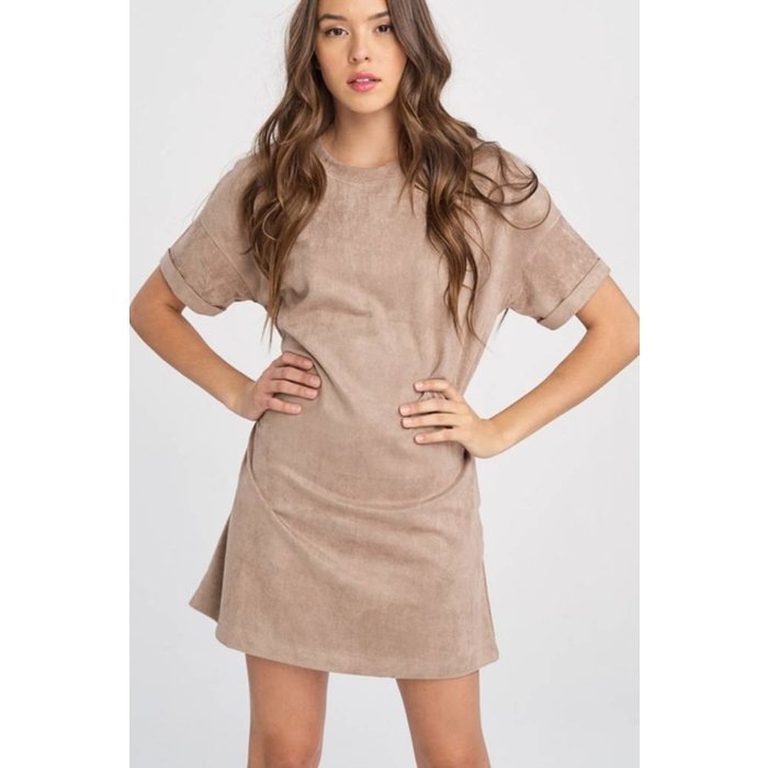 Mocha Suede Mini Dress With Pockets
