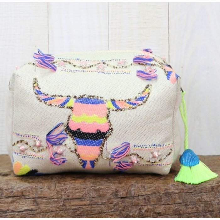 Longhorn Embroidered Origami Makeup Bag