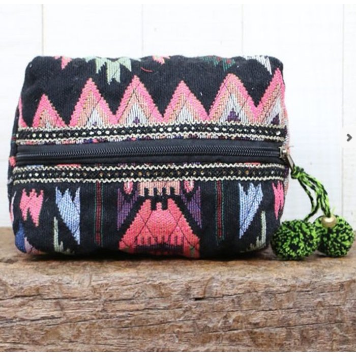 Navajo Green Pom Pom Makeup Bag