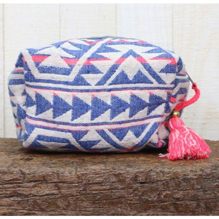 Ikat pattern Origami Makeup Bag