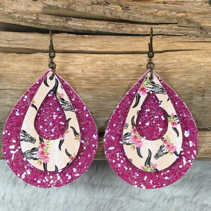 Bullskull Pink Glitter Handmade Earrings