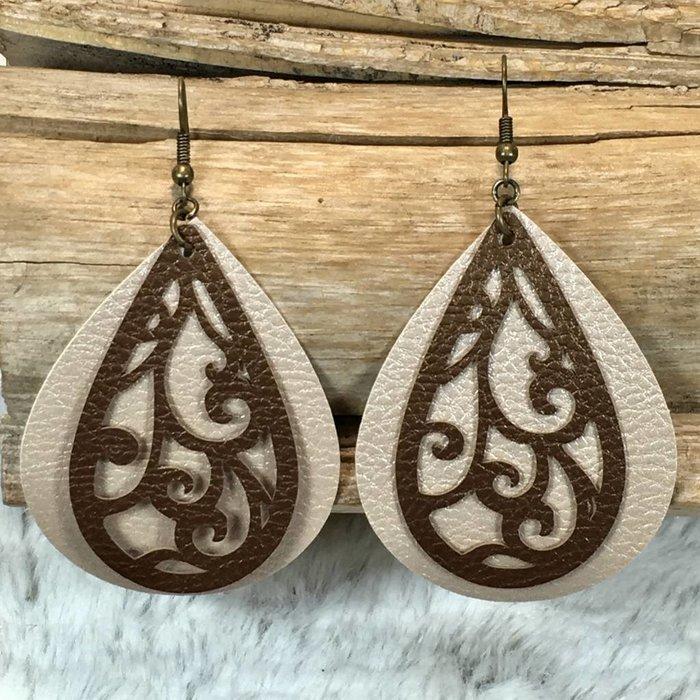 Cream & Brown Swirl Layered Leather Earrings