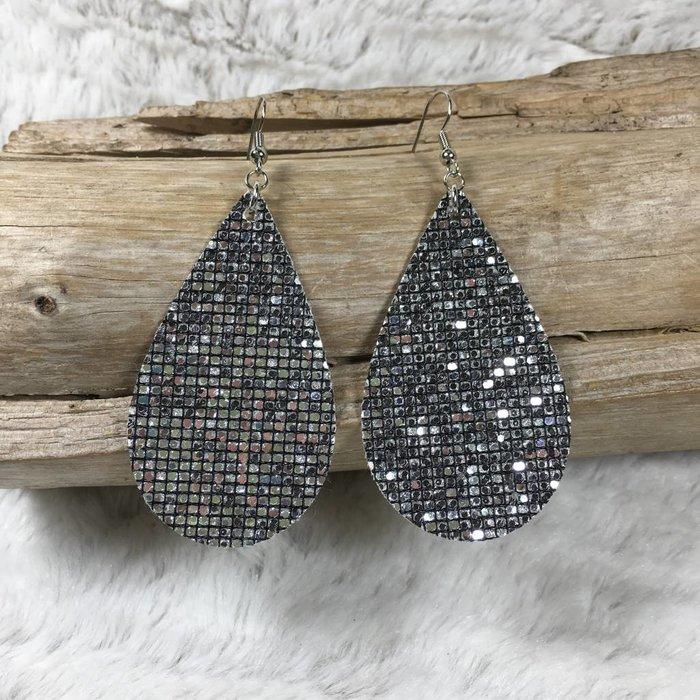 Silver Disco Glitter Teardrop Earrings