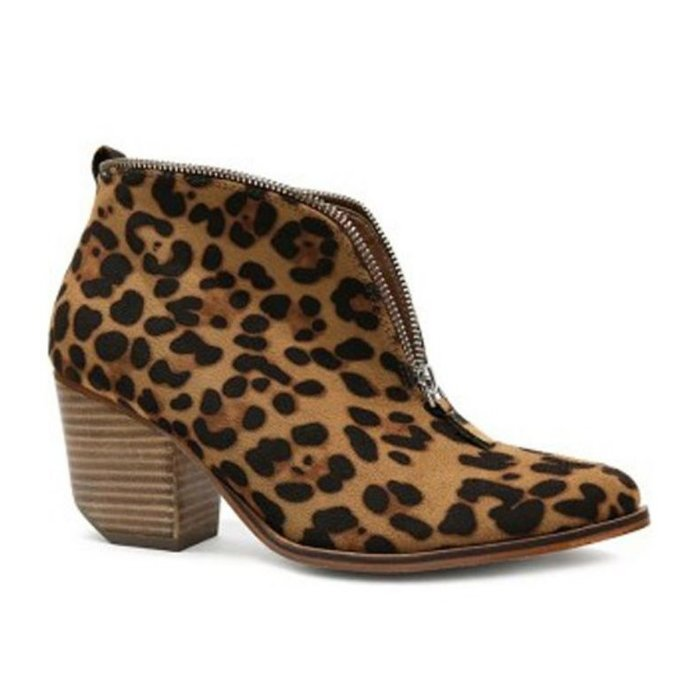 Leopard Zip Up Bootie