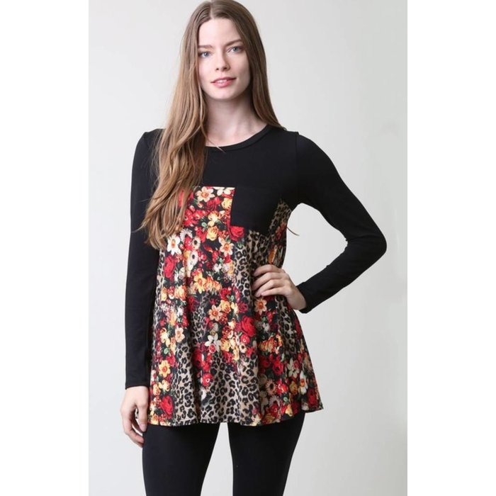 PLUS Leopard Floral 3/4 Sleeve Top
