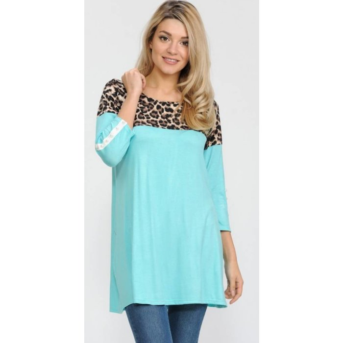 Mint Pearl Accent Leopard Top