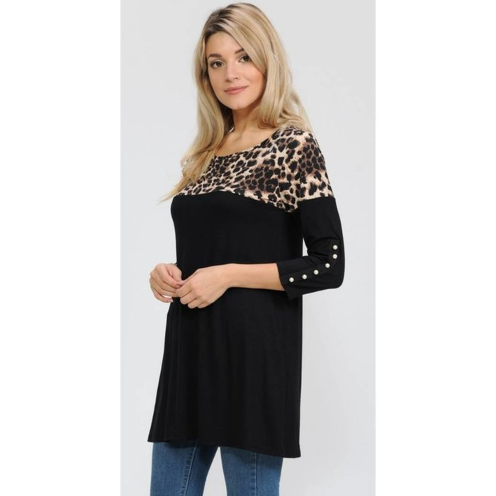 Black Pearl Leopard Accent Top