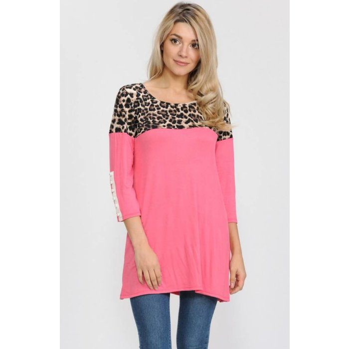 Coral Pearl Accent Leopard Top