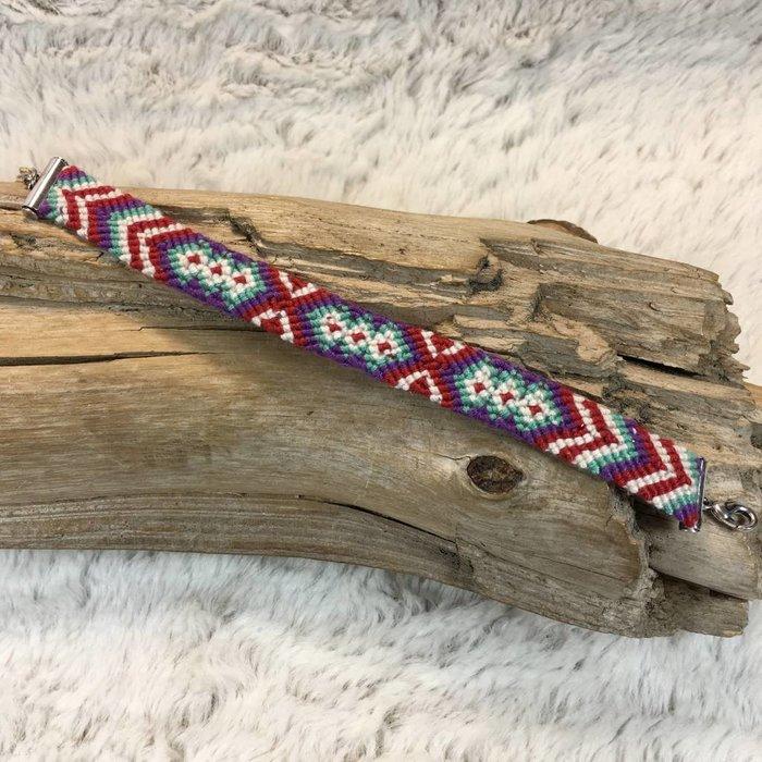 Aztec Braided Red/Purple Bracelet