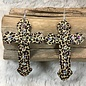 Leopard Leather Bling Cross Earrings