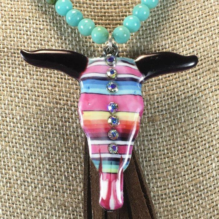 Serape Steer Turquoise Long Necklace Set