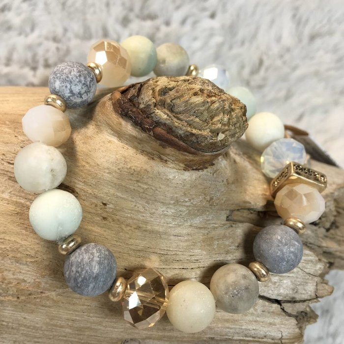 Gold and Pacific Opal Love Hope Faith Beaded Bracelet