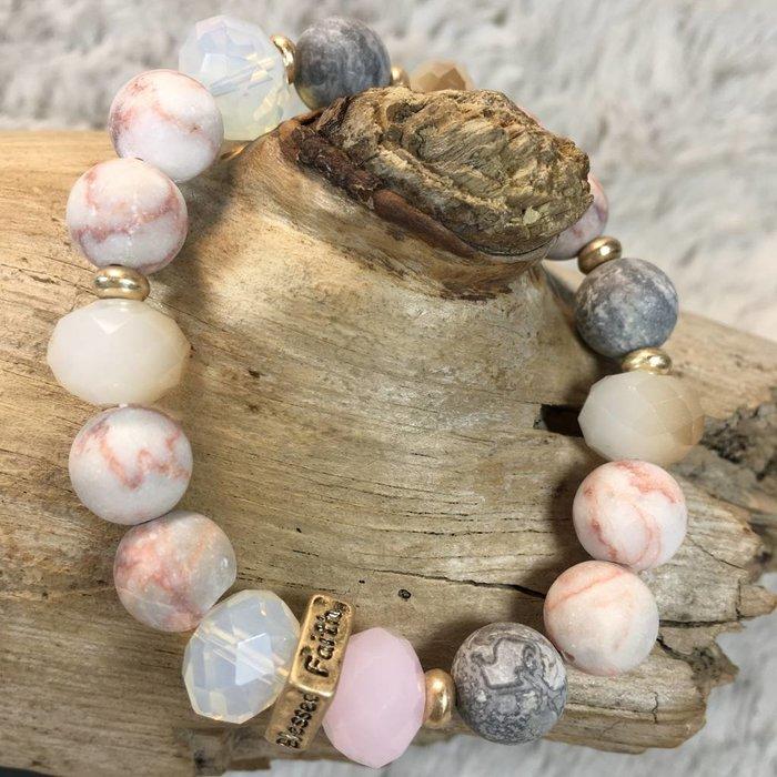 Gold and Light Peach Love Hope Faith Beaded Bracelet