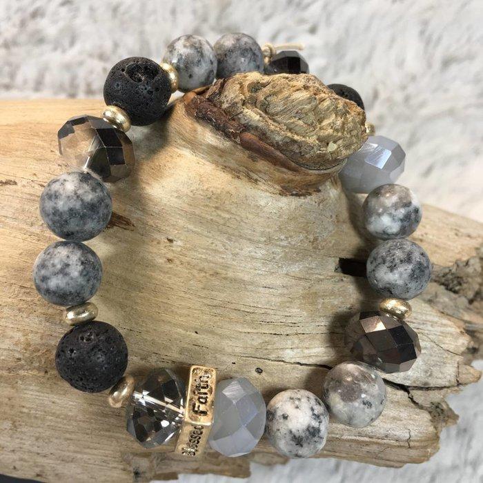 Black and Gold Love Hope Faith Beaded Bracelet