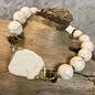 Ivory and Gold Stone Stretch Bracelet